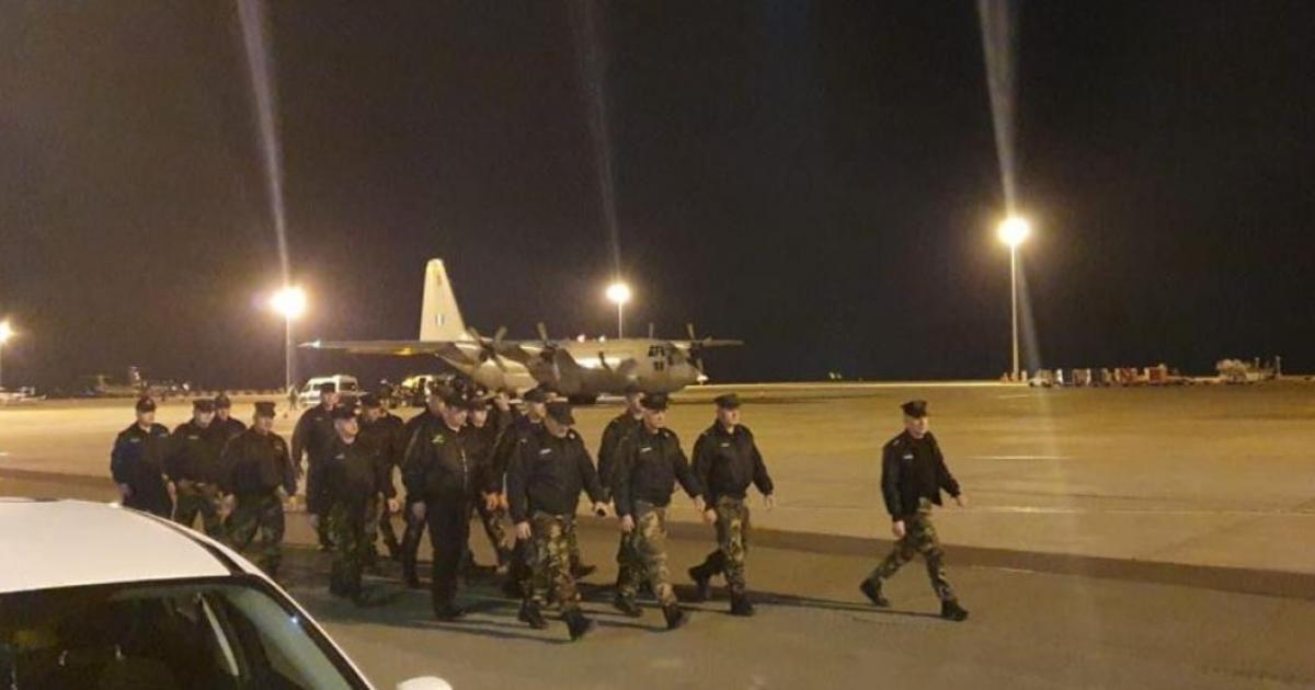 Με στρατιωτικό αεροσκάφος C130 αναχώρησαν για την Ελλάδα 21 άτομα μέλη των Σωμάτων Ασφαλείας της Κύπρου