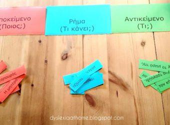Υποκείμενο, Ρήμα, Αντικείμενο: Ένα παιχνίδι γραμματικής με χρώματα για παιδιά με δυσλεξία